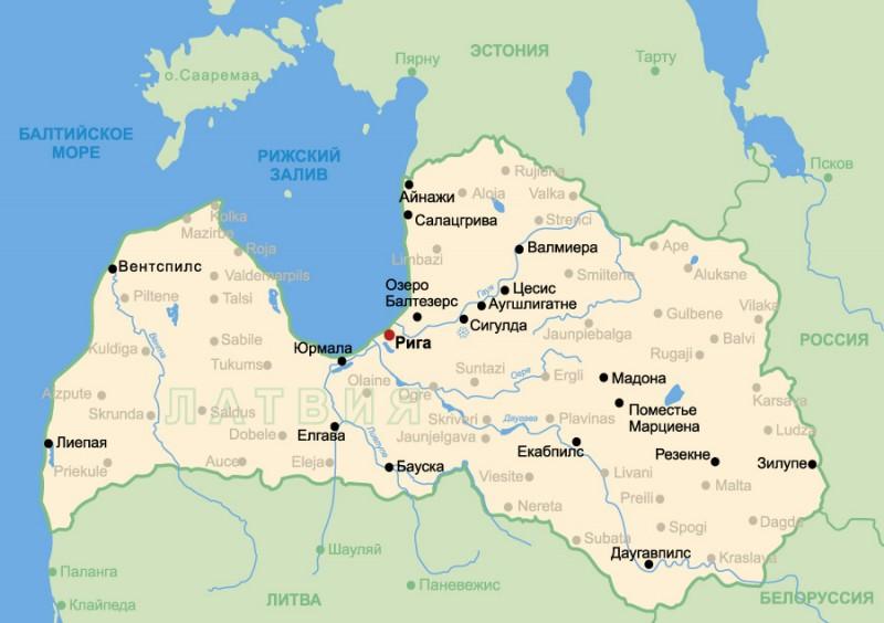 Карта латвии столица латвии город